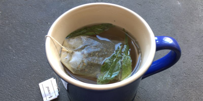 whole stevia leaves used to sweeten tea in cup