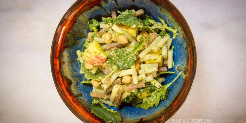 Oil-free pesto pasta salad with chickpeas, apple, and arugula (Low fat, Vegan)