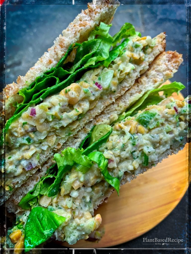 Chickpea Salad Sandwich uses a nice lime dressing to add a citrus note to the meal. It's vegan and oil free recipe.