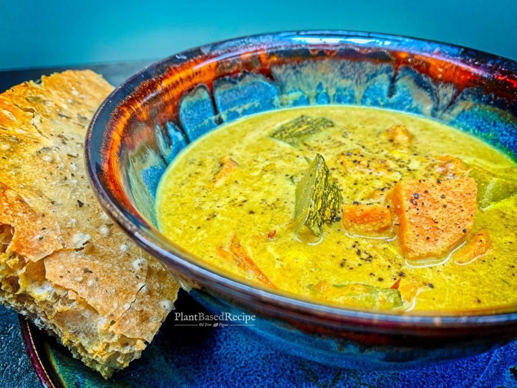 Creamy Curry Soup with Zucchini and Potatoes recipe (Vegan, Oil free) for the stovetop or slow cooker